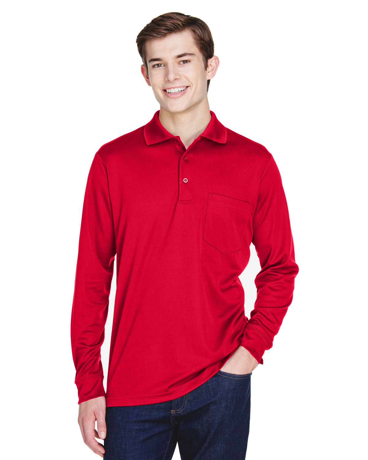 Core 365 Adult Pinnacle Performance Long-Sleeve Piqué Polo with Pocket CLASSIC RED