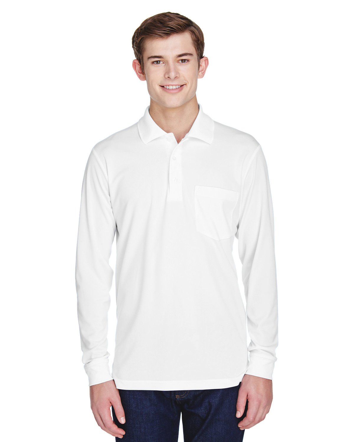 Core 365 Adult Pinnacle Performance Long-Sleeve Piqué Polo with Pocket WHITE