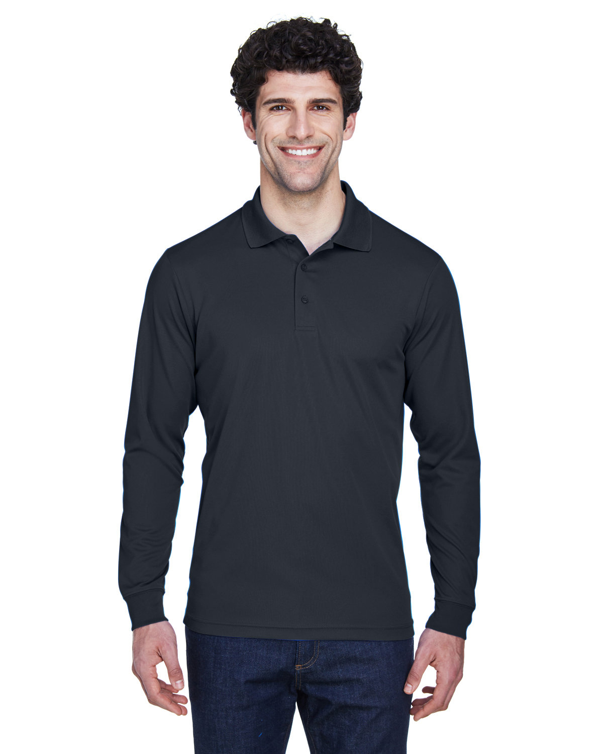 Core 365 Men's Tall Pinnacle Performance Long-Sleeve Piqué Polo CARBON