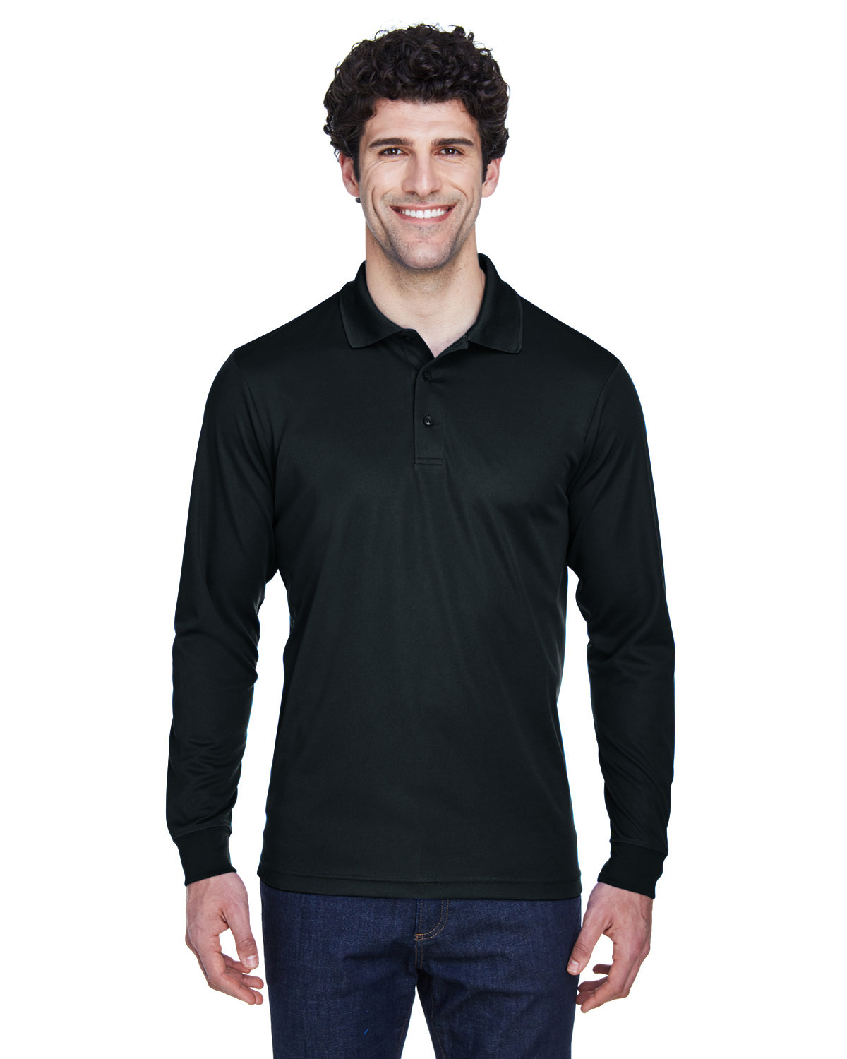 Core 365 Men's Tall Pinnacle Performance Long-Sleeve Piqué Polo BLACK