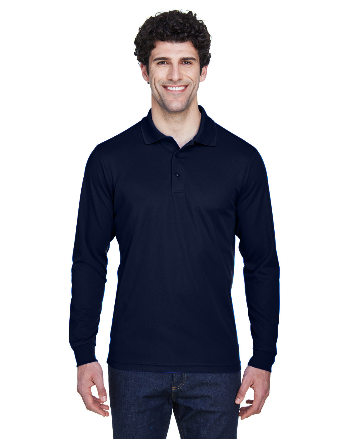 Core 365 Men's Tall Pinnacle Performance Long-Sleeve Piqué Polo CLASSIC NAVY