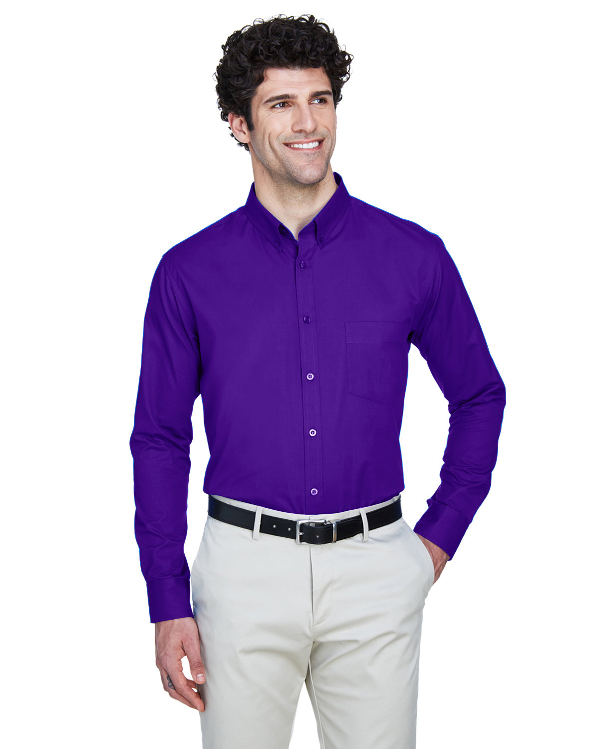 Core 365 Men's Operate Long-Sleeve Twill Shirt CAMPUS PURPLE