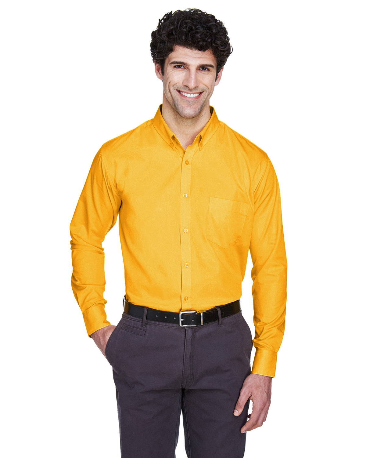 Core 365 Men's Operate Long-Sleeve Twill Shirt CAMPUS GOLD