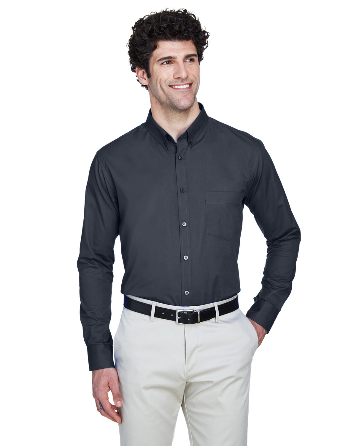 Core 365 Men's Operate Long-Sleeve Twill Shirt CARBON