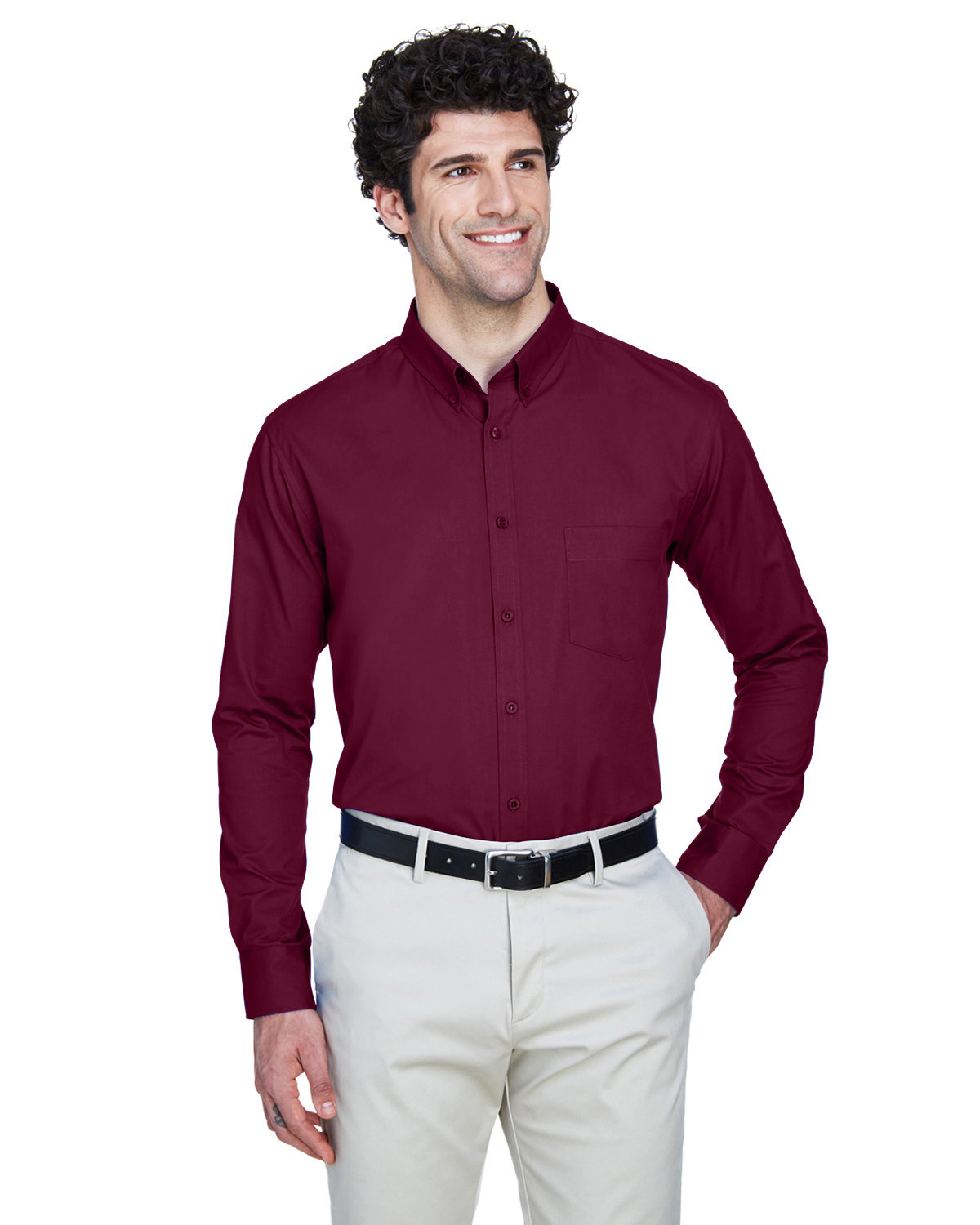 Core 365 Men's Operate Long-Sleeve Twill Shirt BURGUNDY