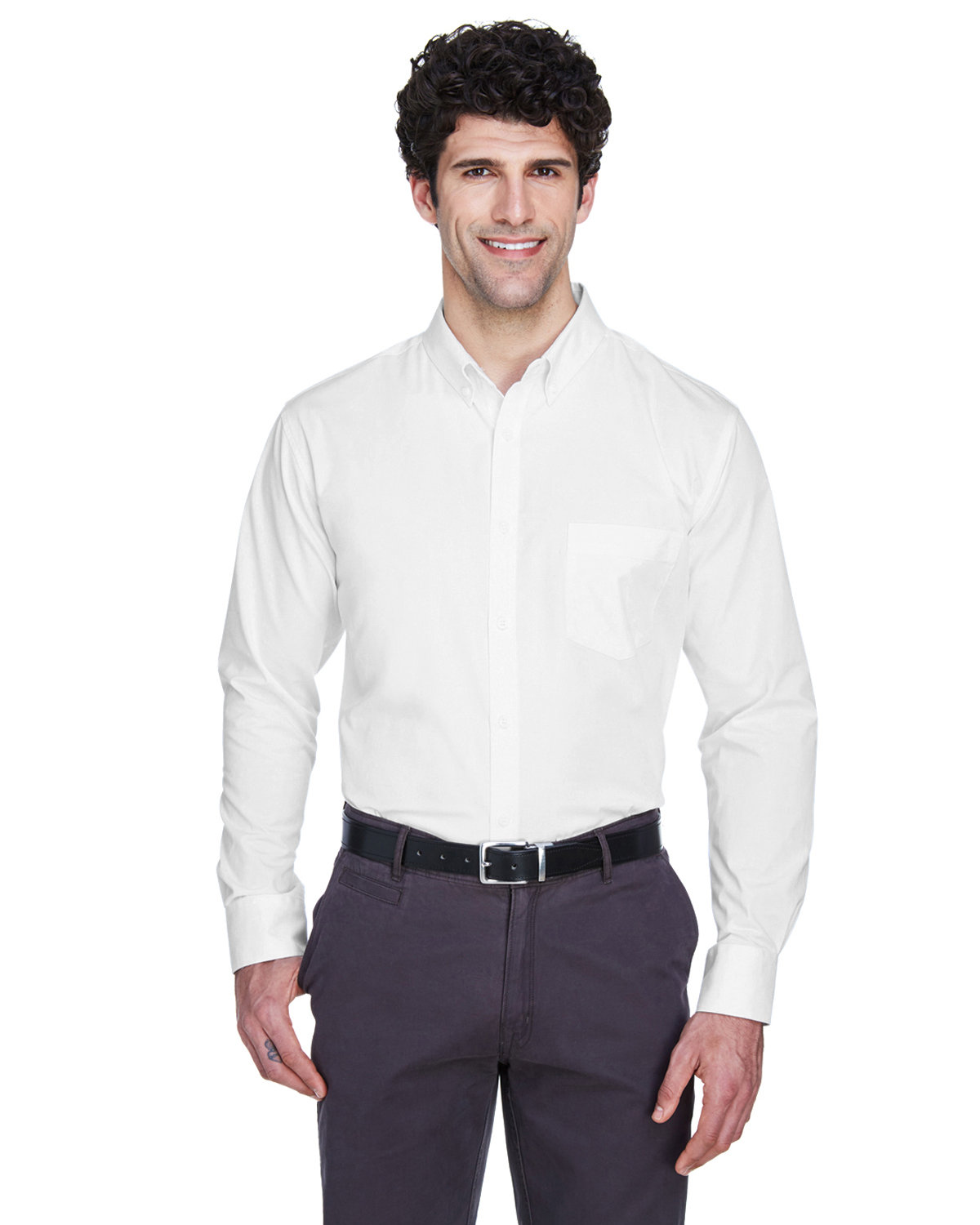 Core 365 Men's Operate Long-Sleeve Twill Shirt WHITE