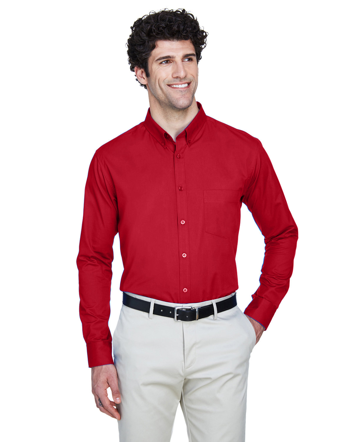 Core 365 Men's Operate Long-Sleeve Twill Shirt CLASSIC RED
