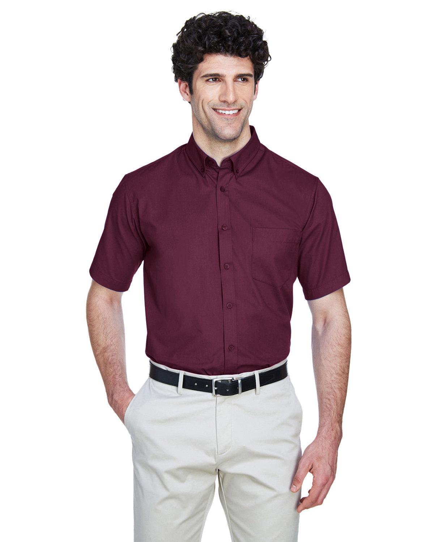 Core 365 Men's Optimum Short-Sleeve Twill Shirt BURGUNDY