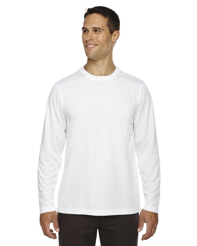 Core 365 Men's Agility Performance Long-Sleeve Piqué Crewneck WHITE