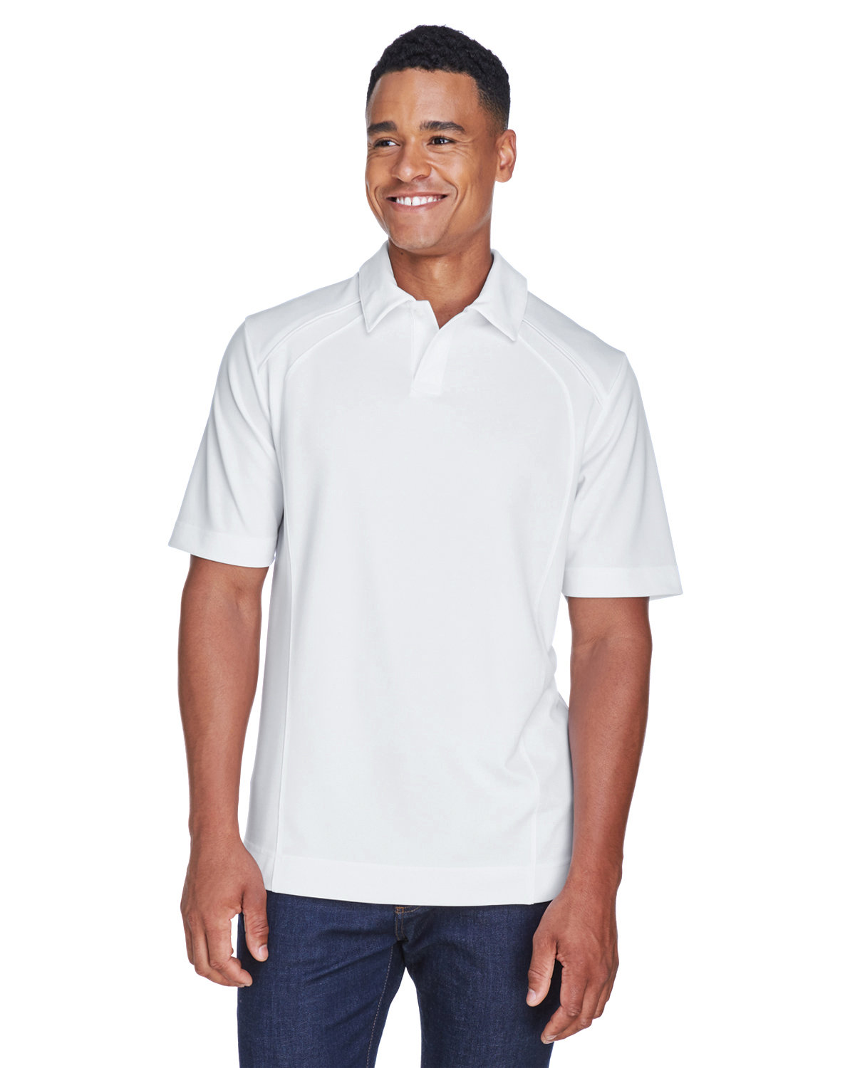 North End Men's Recycled Polyester Performance Piqué Polo WHITE