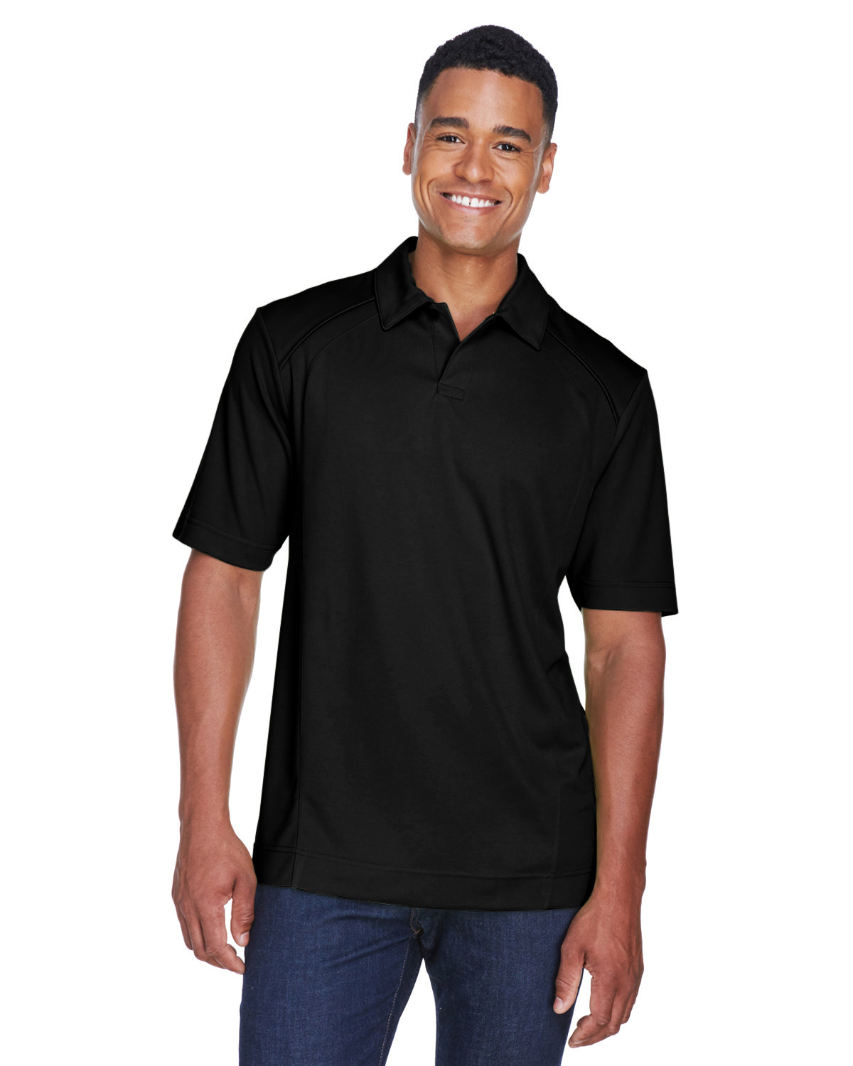 North End Men's Recycled Polyester Performance Piqué Polo BLACK