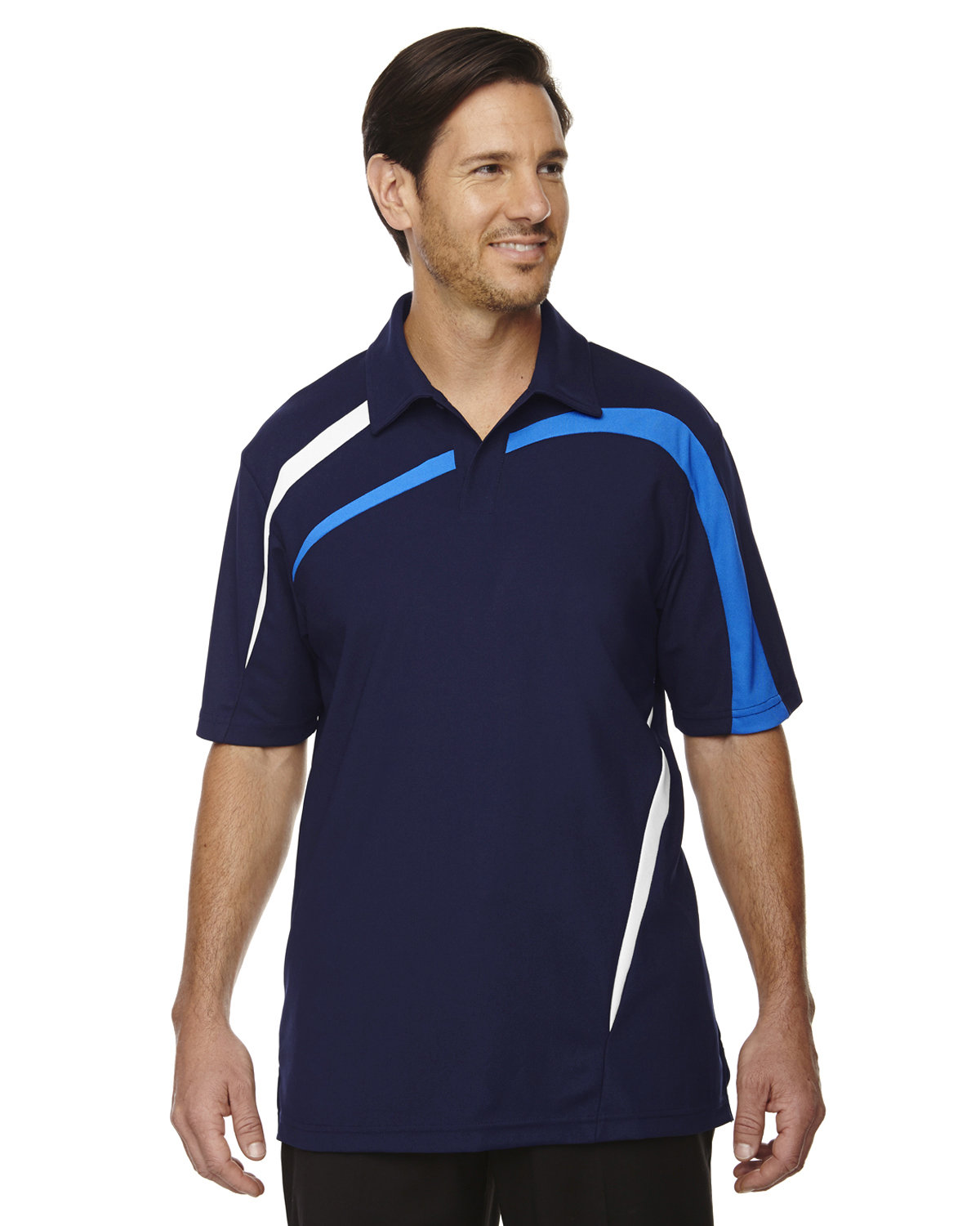North End Men's Impact Performance Polyester Piqué Colorblock Polo NIGHT