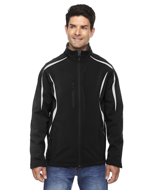 North End Men's Enzo Colorblocked Three-Layer Fleece Bonded Soft Shell Jacket BLACK