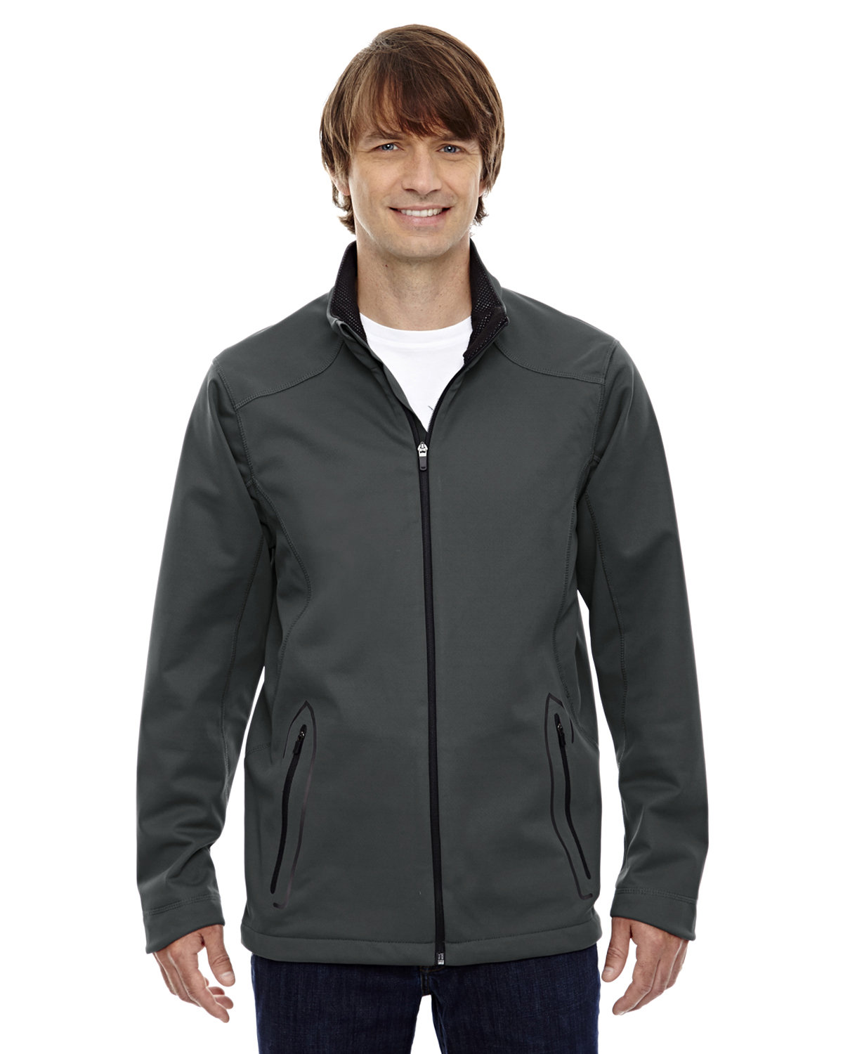North End Men's Splice Three-Layer Light Bonded Soft Shell Jacket with Laser Welding GRAPHITE