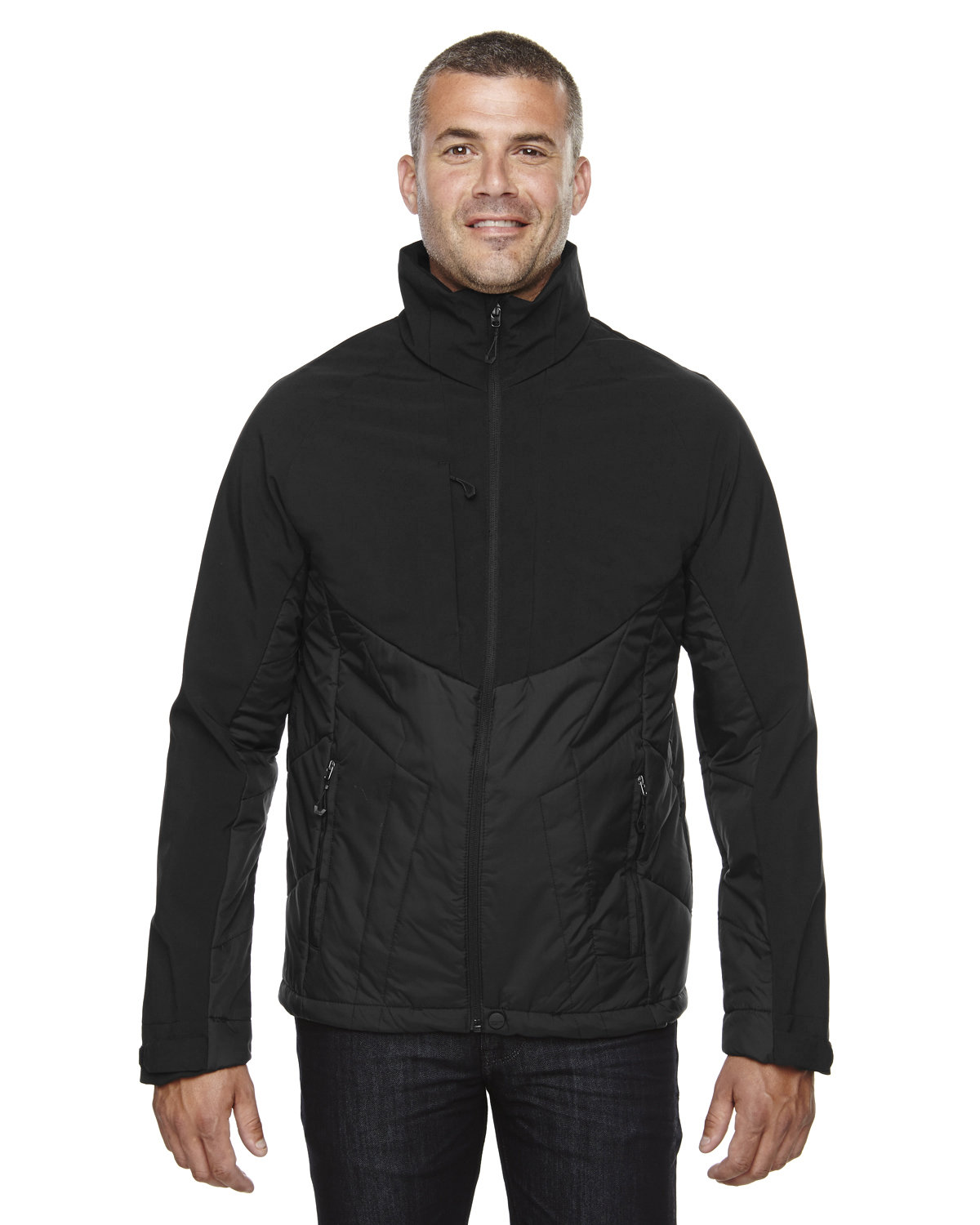 North End Men's Innovate Insulated Hybrid Soft Shell Jacket BLACK