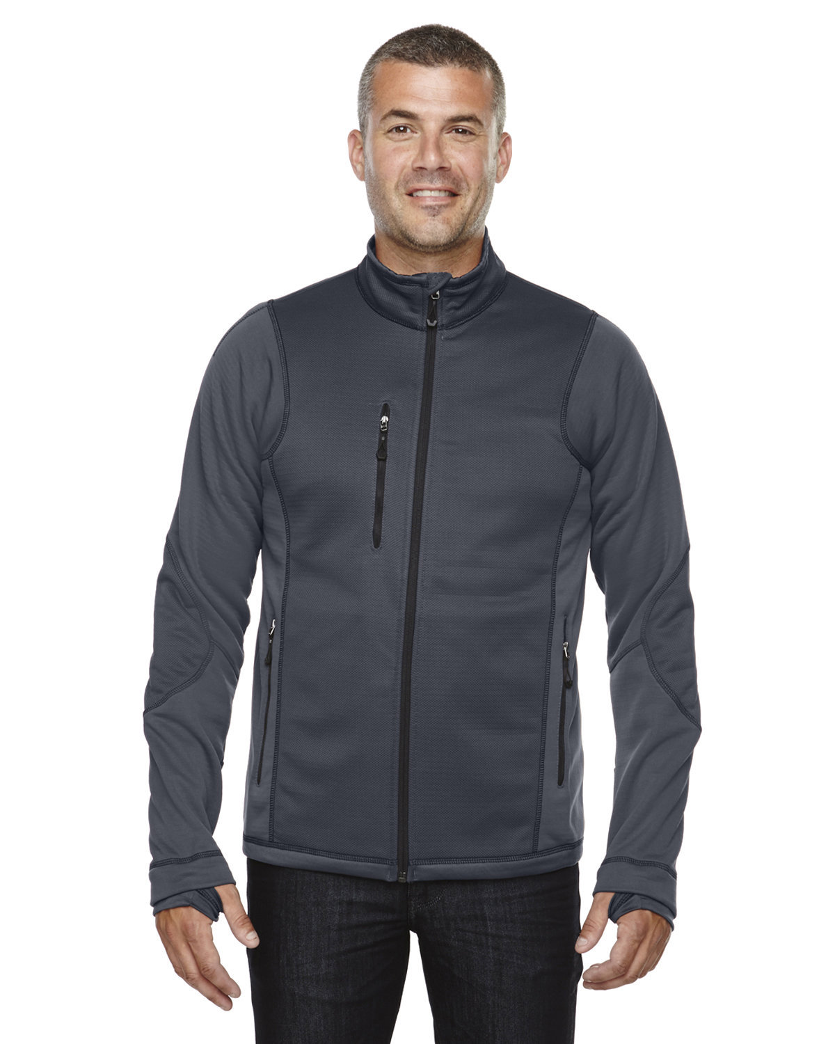 North End Men's Pulse Textured Bonded Fleece Jacket with Print CARBON