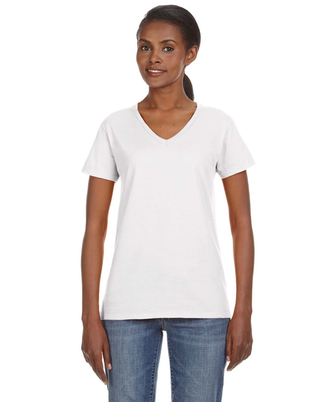 Anvil Ladies' Lightweight V-Neck T-Shirt WHITE