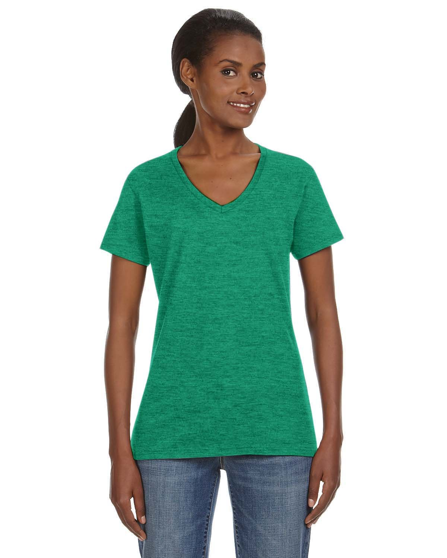 Anvil Ladies' Lightweight V-Neck T-Shirt HEATHER GREEN