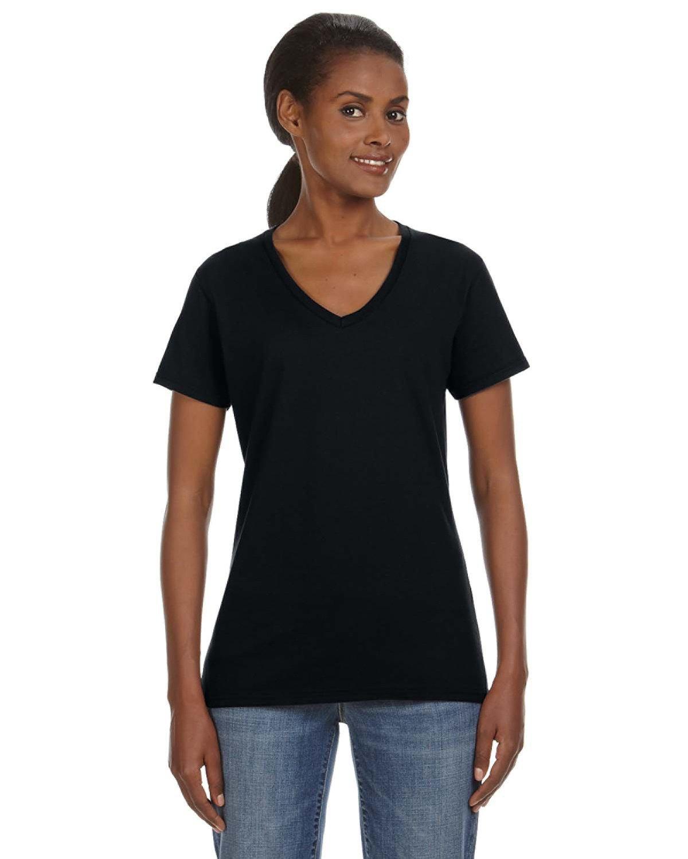 Anvil Ladies' Lightweight V-Neck T-Shirt BLACK