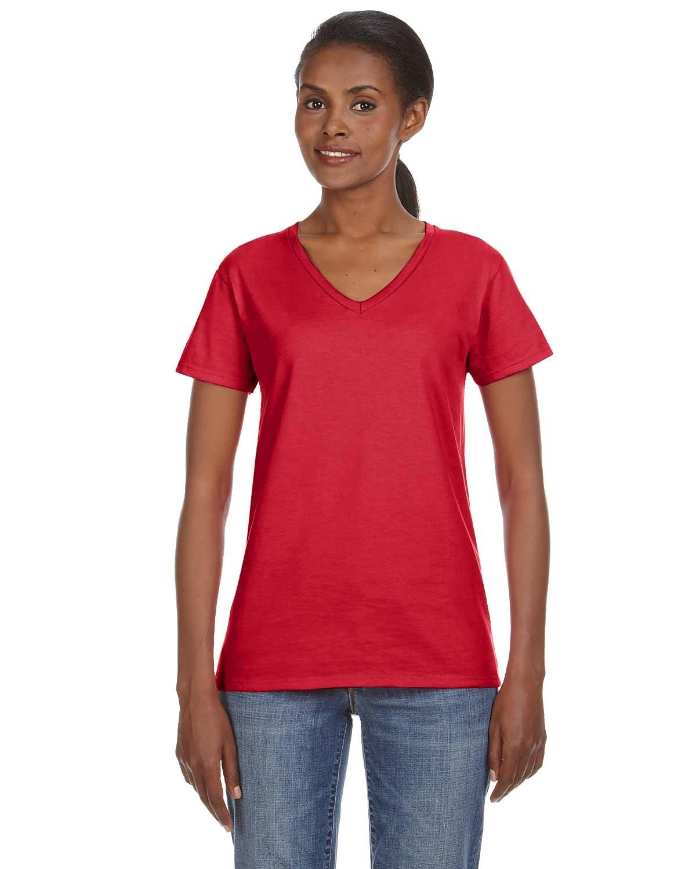 Anvil Ladies' Lightweight V-Neck T-Shirt RED