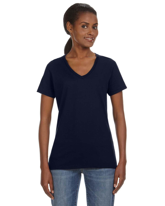 Anvil Ladies' Lightweight V-Neck T-Shirt NAVY