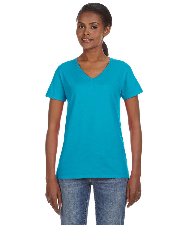 Anvil Ladies' Lightweight V-Neck T-Shirt CARIBBEAN BLUE