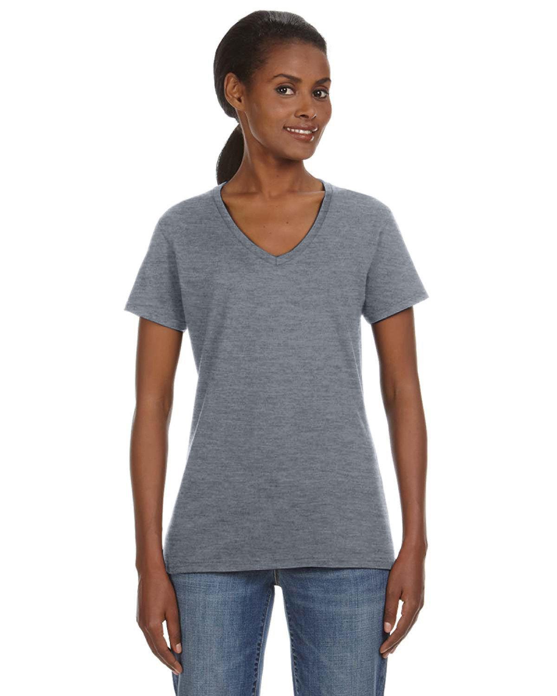 Anvil Ladies' Lightweight V-Neck T-Shirt HEATHER GRAPHITE