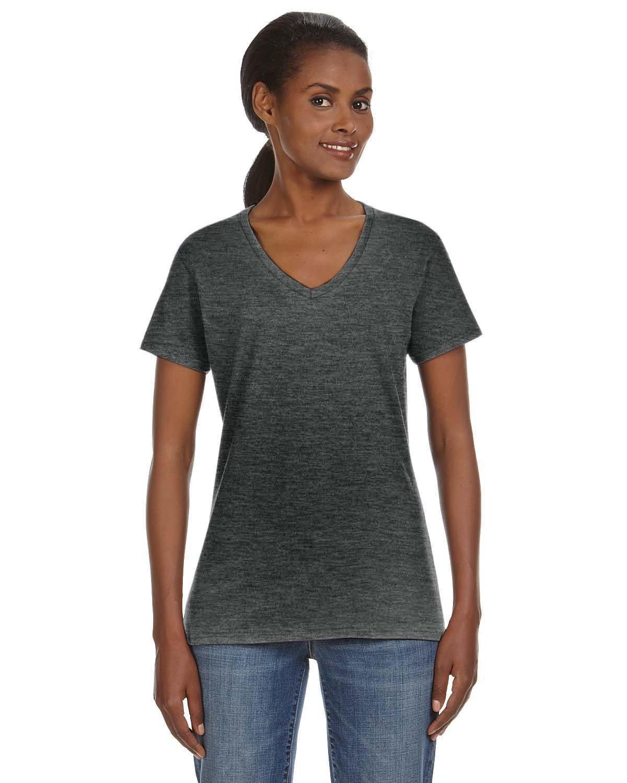 Anvil Ladies' Lightweight V-Neck T-Shirt HEATHER DK GREY