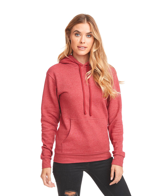 Next Level Unisex Malibu Pullover Hooded Sweatshirt HEATHER CARDINAL