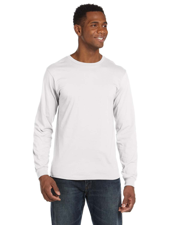Anvil Adult Lightweight Long-Sleeve T-Shirt WHITE
