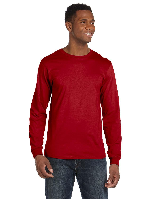 Anvil Adult Lightweight Long-Sleeve T-Shirt RED