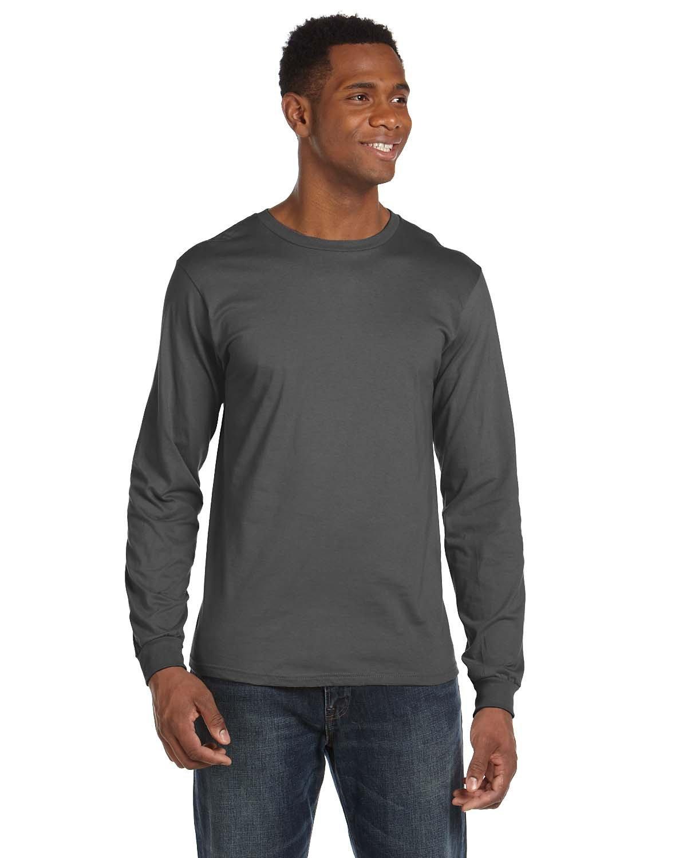 Anvil Adult Lightweight Long-Sleeve T-Shirt CHARCOAL