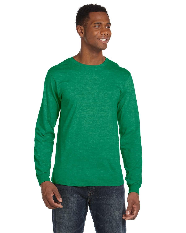 Anvil Adult Lightweight Long-Sleeve T-Shirt HEATHER GREEN