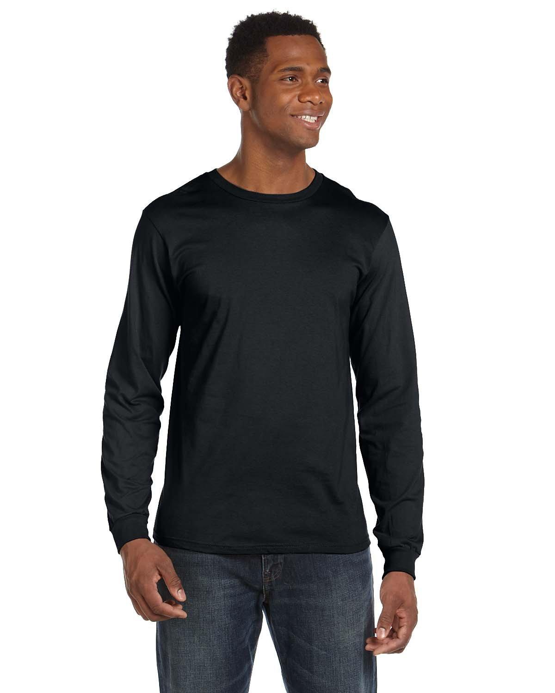 Anvil Adult Lightweight Long-Sleeve T-Shirt BLACK