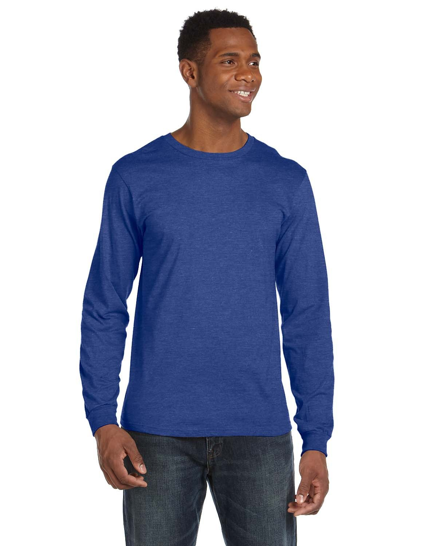 Anvil Adult Lightweight Long-Sleeve T-Shirt HEATHER BLUE
