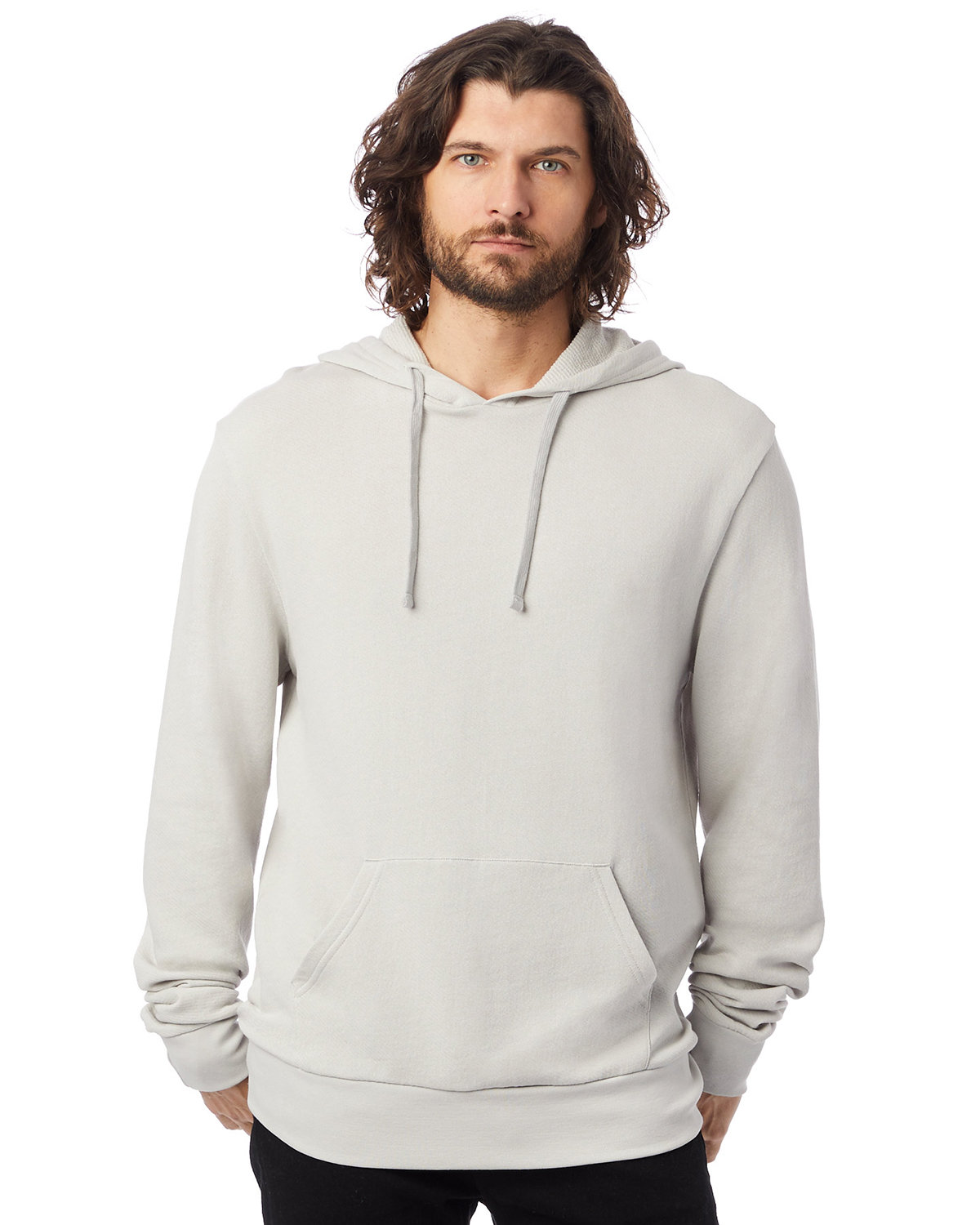 Alternative Unisex 6.5 oz., Challenger Washed French Terry Pullover Hooded Sweatshirt LIGHT GREY