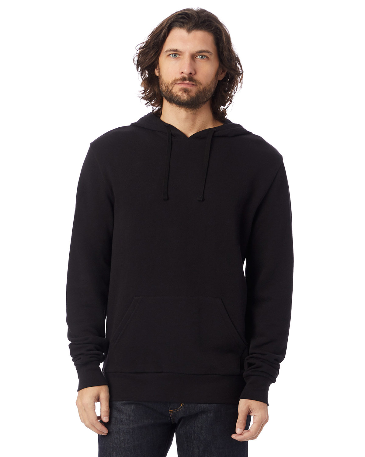 Alternative Unisex 6.5 oz., Challenger Washed French Terry Pullover Hooded Sweatshirt BLACK