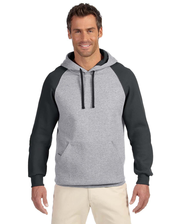 Jerzees Adult NuBlend® Colorblock Raglan Pullover Hooded Sweatshirt OXFORD/ BLACK