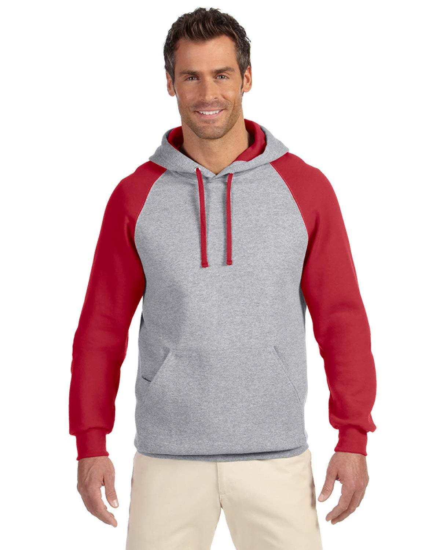 Jerzees Adult NuBlend® Colorblock Raglan Pullover Hooded Sweatshirt OXFORD/ TRUE RED
