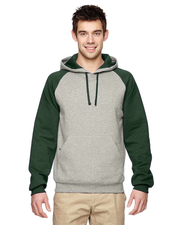 Jerzees Adult NuBlend® Colorblock Raglan Pullover Hooded Sweatshirt OXFORD/ FOR GRN