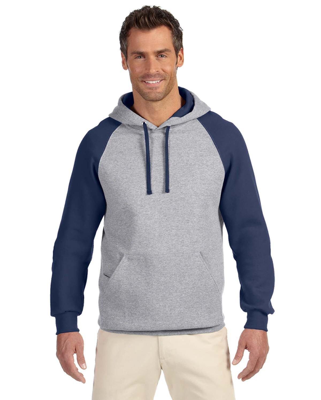 Jerzees Adult NuBlend® Colorblock Raglan Pullover Hooded Sweatshirt OXFORD/ J NAVY