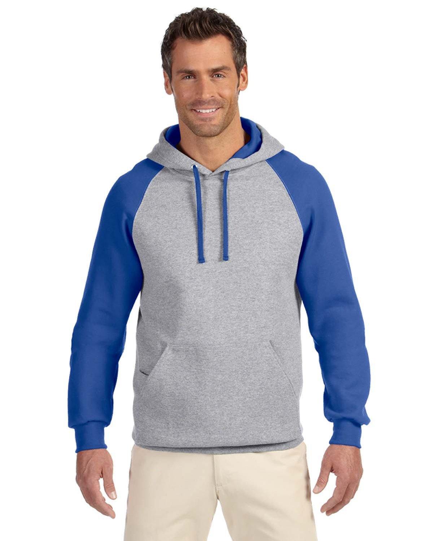 Jerzees Adult NuBlend® Colorblock Raglan Pullover Hooded Sweatshirt OXFORD/ ROYAL