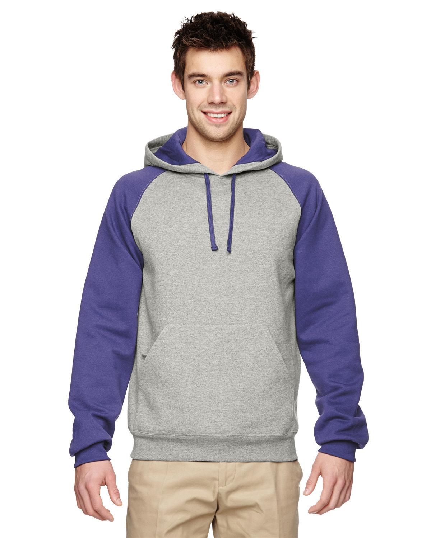 Jerzees Adult NuBlend® Colorblock Raglan Pullover Hooded Sweatshirt OXFORD/ DEEP PUR
