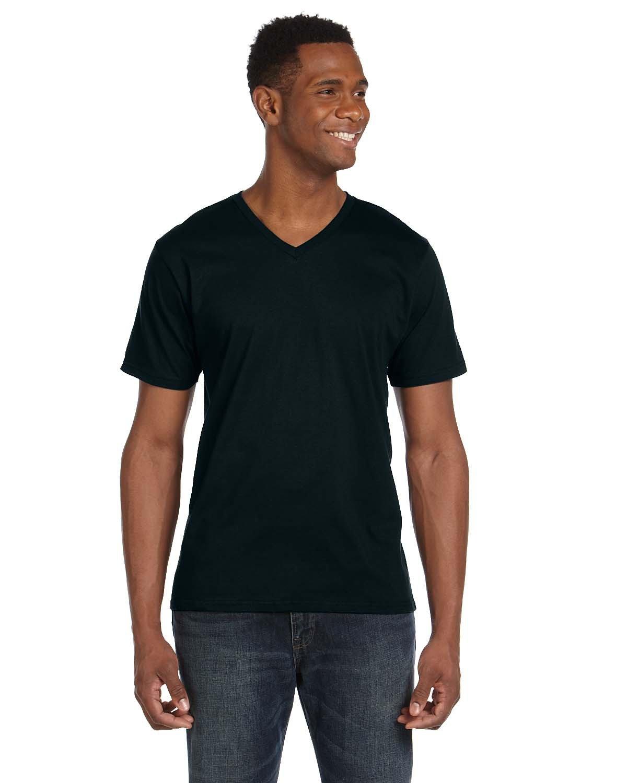 Anvil Adult Lightweight V-Neck T-Shirt BLACK
