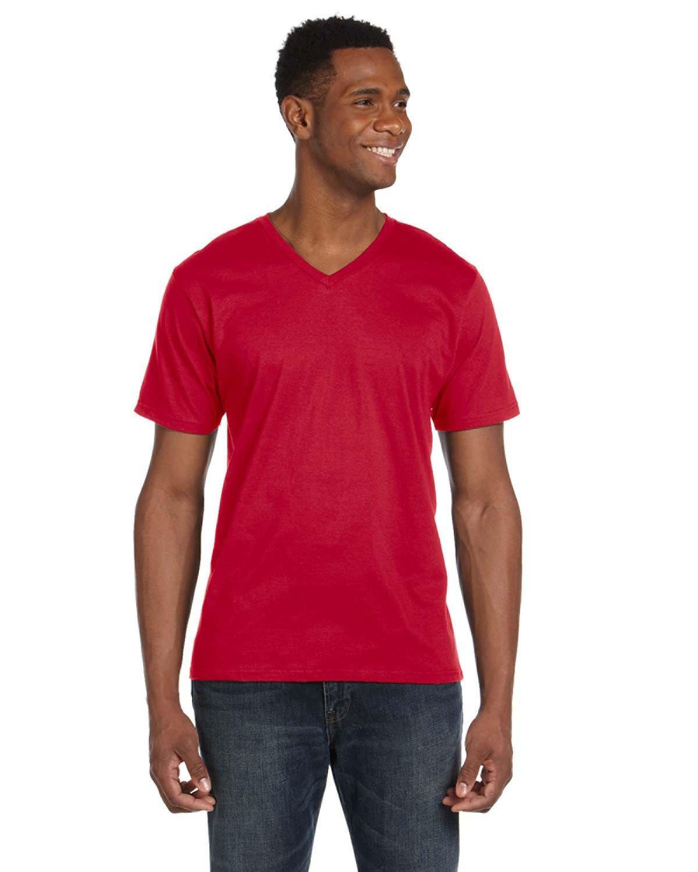 Anvil Adult Lightweight V-Neck T-Shirt RED