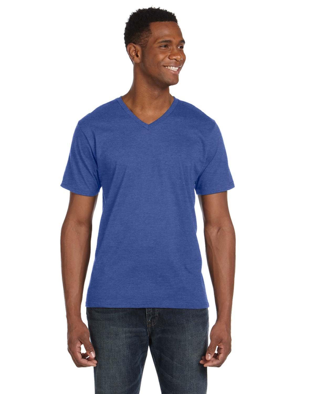 Anvil Adult Lightweight V-Neck T-Shirt HEATHER BLUE