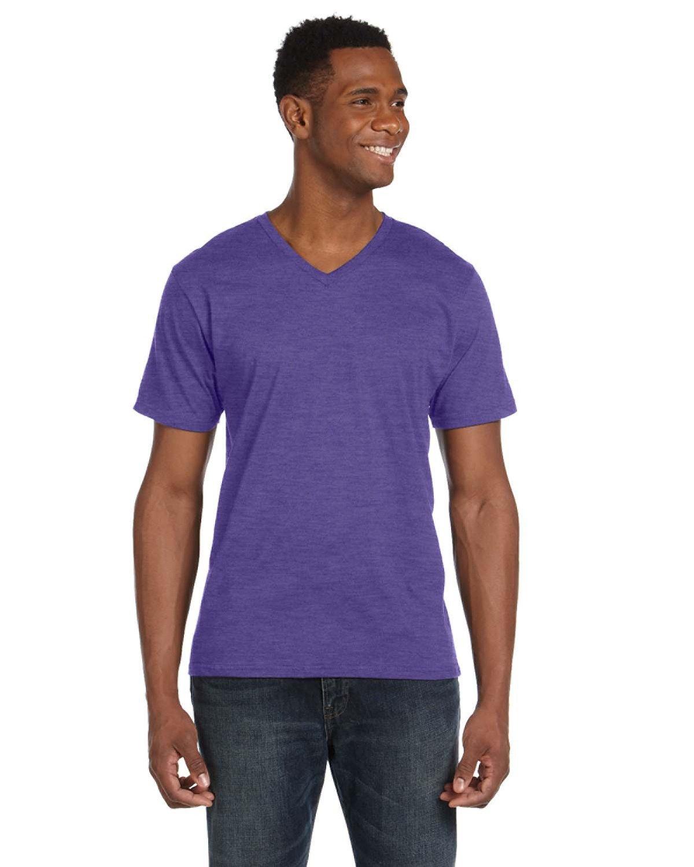 Anvil Adult Lightweight V-Neck T-Shirt HEATHER PURPLE