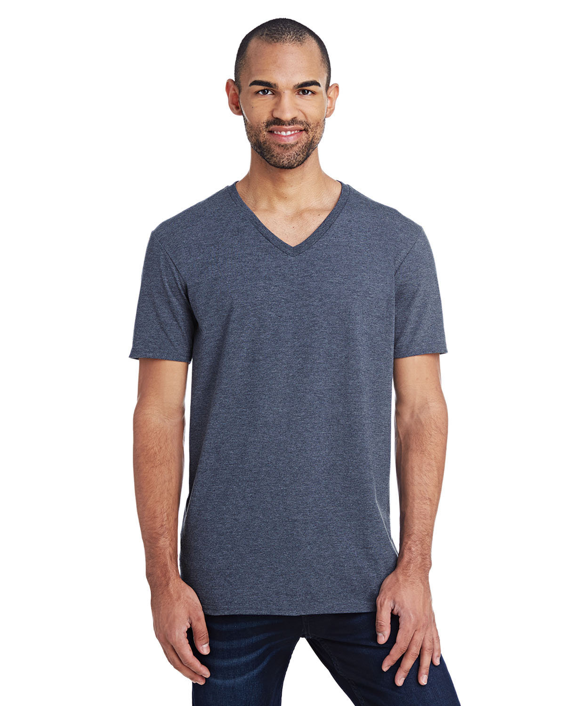 Anvil Adult Lightweight V-Neck T-Shirt HEATHER NAVY