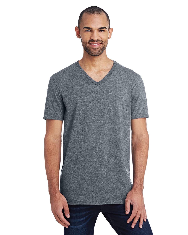 Anvil Adult Lightweight V-Neck T-Shirt HEATHER GRAPHITE