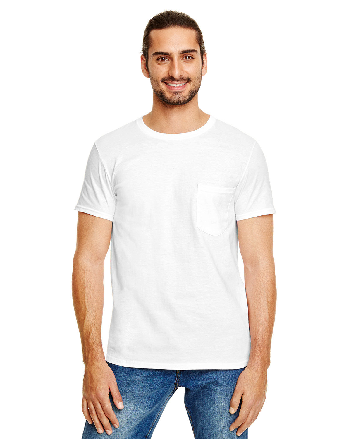Anvil Adult Lightweight Pocket T-Shirt WHITE